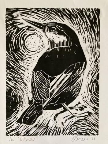 Lino cut, printmaking, wildlife, bird. black and white print, modern printmaking.