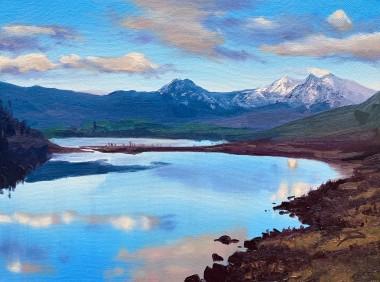 Winter Mountain Reflections, Llynnau Mymbyr and the Snowdon Horseshoe, Snowdonia, North Wales
