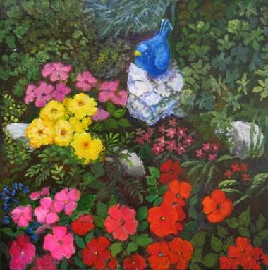 Canvas acrylic painting of rockery garden by Maureen Greenwood
