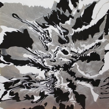 black, white and silver abstract painting