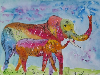 colourful mother and baby elephants