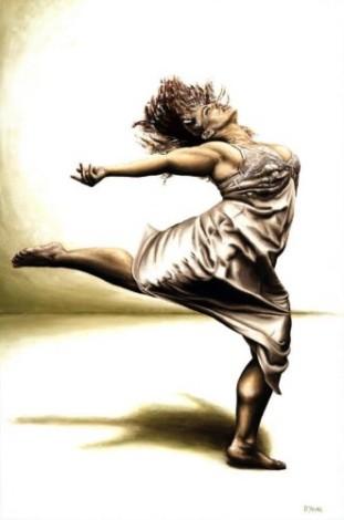 Fine art original oil painting of a sensual dancer