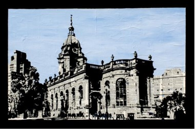 Birmingham City Cathedral in black, white and blue.