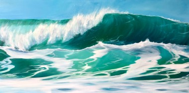 Sea green waves original oil on canvas painting