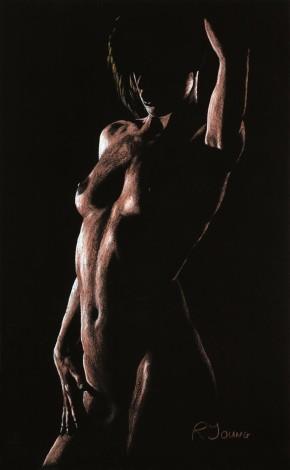 Original pastel fine art of a sensual nude model