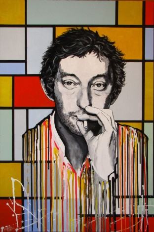 Serge Gainsbourg Melting on a Mondrian Painting