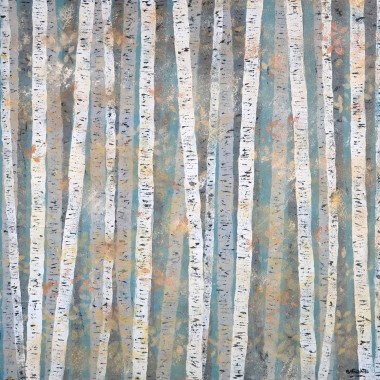 Late autumn silver birch painting
