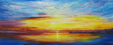 Canvas oil painting of sun