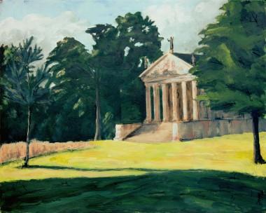 Acrylic painting morning sunlight temple parkland Stowe