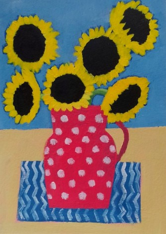 Sunflowers in a Red Polka Dot Vase