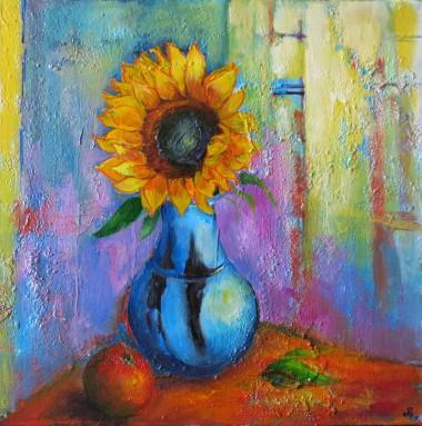 sunflower and blue pot