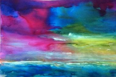 abstract seascape clouds sky modern art wall art blue pink green