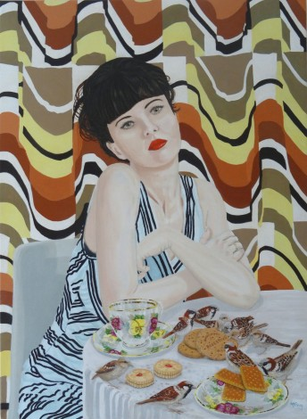 Tea Time oil on canvas portrait by artist Michael McEvoy