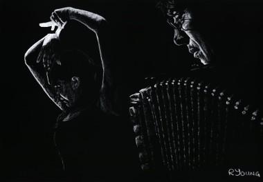 Fine art original pastel of a beautiful flamenco dancer and acordian player