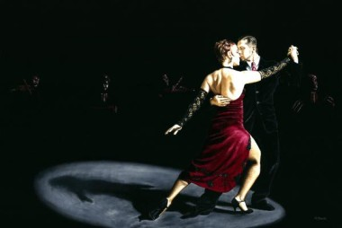 Fine art original oil painting of passionate Argentine tango dancers on stage