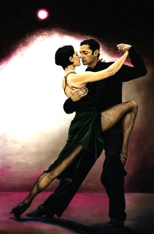 Fine art contemporary original oil painting of two elegant and deeply passionate Argentinian tango dancers
