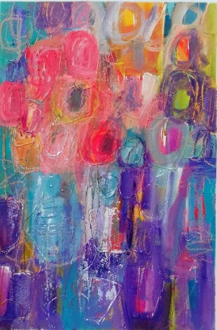 Summer Flowers in a Purple Vase