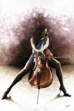 Fine art original oil painting of a cello player cellist