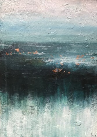 Acrylic seascape on board with copper foil