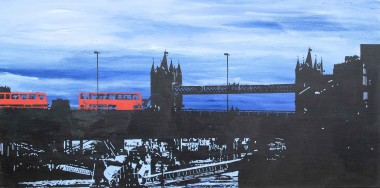 Two red London buses, two lovers on tower bridge painting