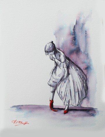 Untied red shoe