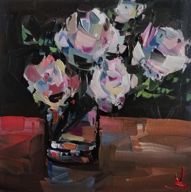 White Roses In A Glass