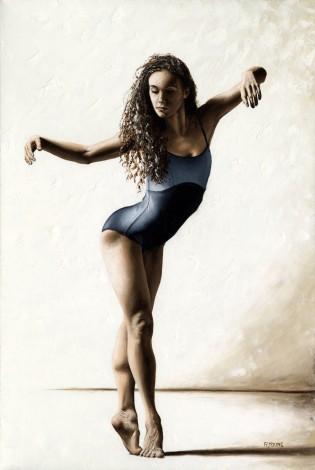 Fine art original oil painting of a beautiful modern ballerina dancer