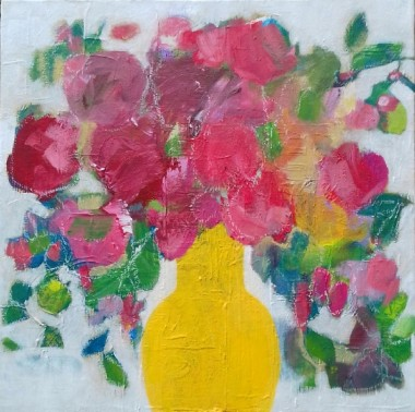 Roses in a Yellow Vase