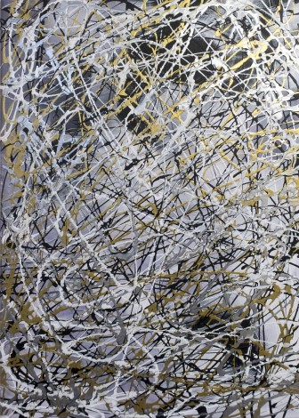 Black, white, silver and gold painting