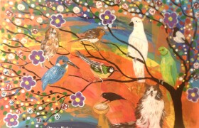 The Fluffy cat and the Colourful Bird Tree