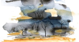 Trees In The Wilderness - watercolor and ink on paper