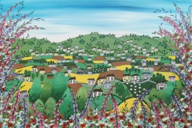 Contemporary countryside meadow flowers painting