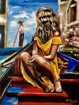 Venice. Girl on the Boat