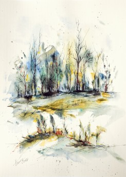 Winter Trees watercolor painting