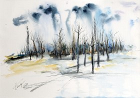 Trees in Wintertime - watercolor and ink on paper
