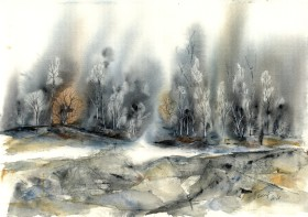 Misty forest - watercolor on paper
