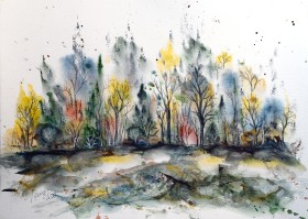Forest in Late Summer - watercolor and ink on paper