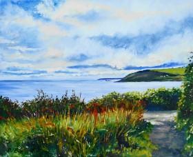 clouds sea wild flowers coastal path atmosphere Falmouth Cornwall