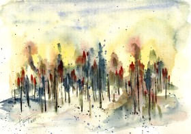 Sunset in the Woods - watercolor and ink on paper