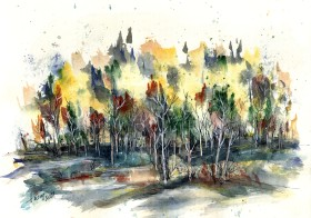 The Dense Forest - watercolor and ink on paper