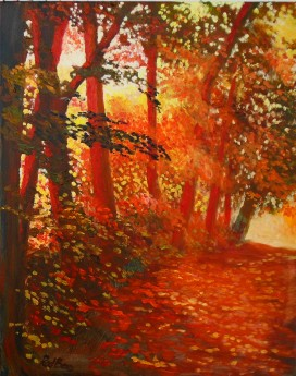 autumn, reds, affordable art, affordable oil painting, sunset, walks, trees, woodland,