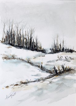 Melting snow watercolor painting on paper