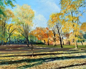Autumn colours, sunlight and shadow, landscape, park, garden, trees , affordable art, affordable oil painting.