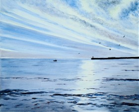 Peaceful affordable painting . sunlit sea reflections in water skyscape harbour view.