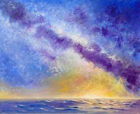 sunrise, seascape, bluea,affordableoil painting,