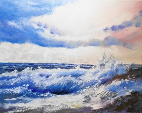 seascape, sunlight, clouds, waves on rocks , affordable oil painting,. blues. atmosphere