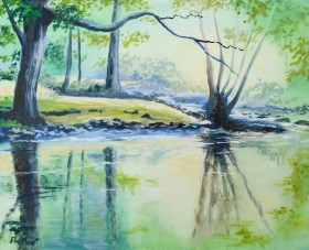 tranquility, peace, afordable oil painting, water reflections in water, pale greens, pastel colours.