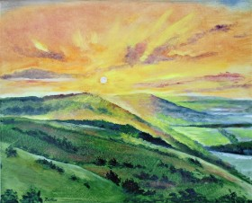 sunset, North Downs UK, countryuside. hills, peaceful, affordable oil painting,