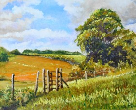 affordabloe art, Kissing Gate, English Summer , Fields, clouds, trees, walks, hills,