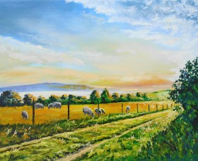 Sheep, Sunrise, fields, affordable oil painting, peaceful.
